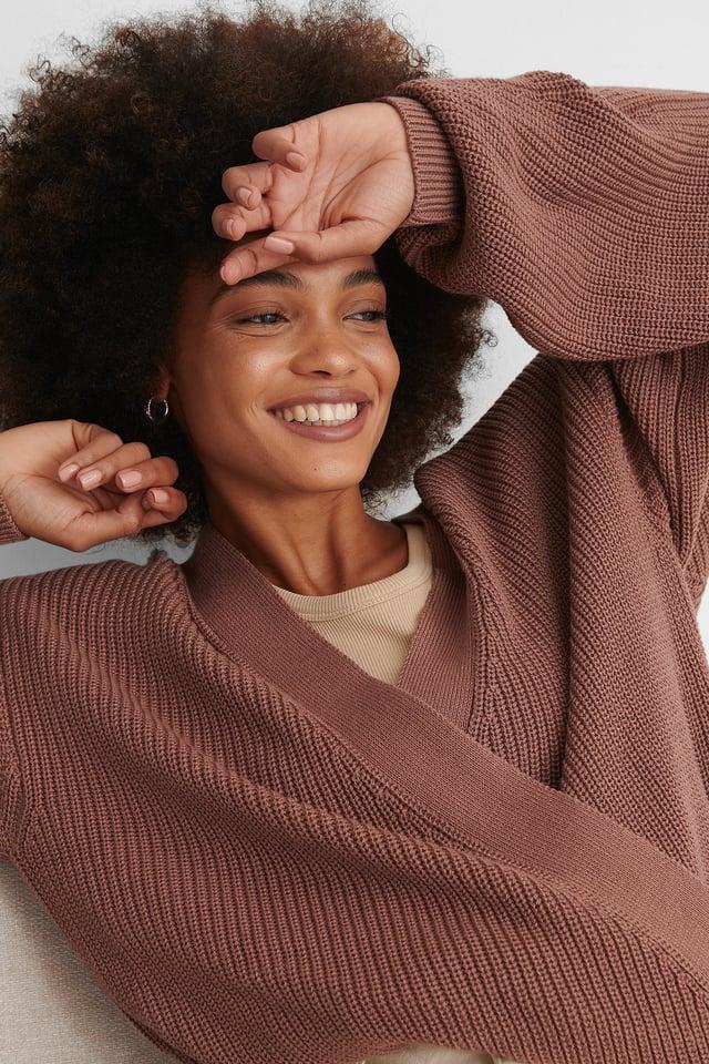Dusty Dark Pink Organic Overlap Knitted Sweater