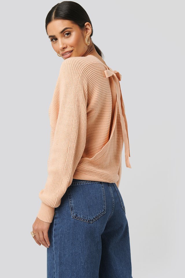 Overlap Knitted Tie Detail Sweater Dusty Pink