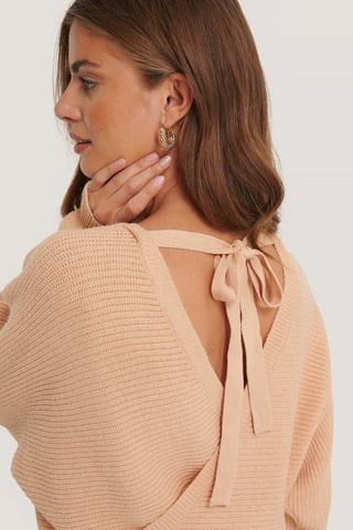 Dusty Pink Overlap Knitted Tie Detail Sweater