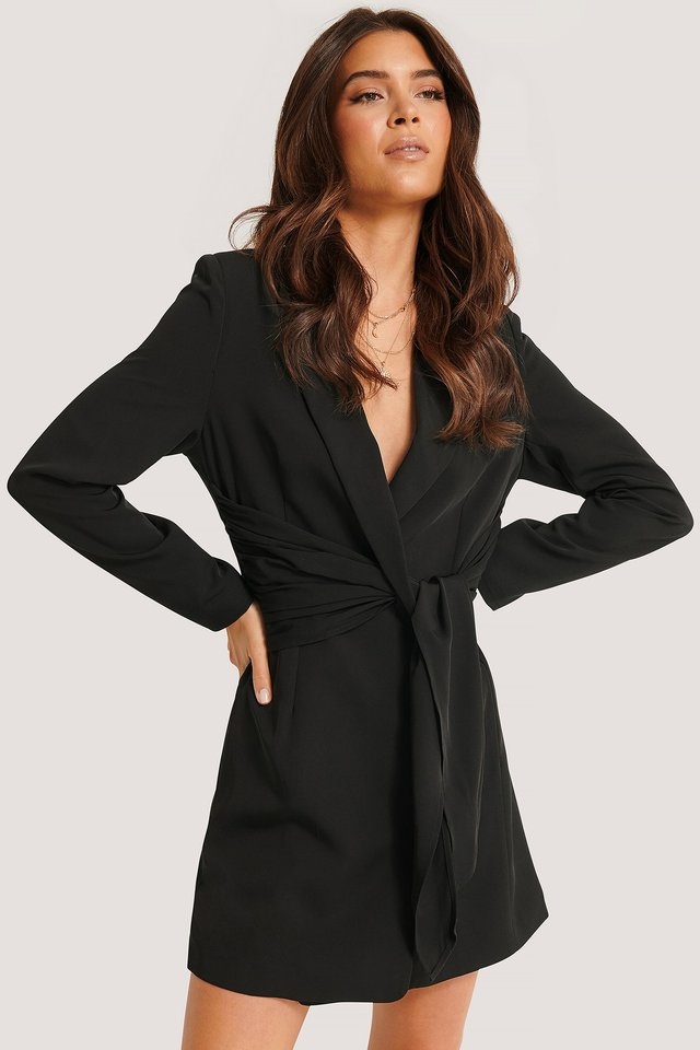Overlap Knot Blazer Dress Black