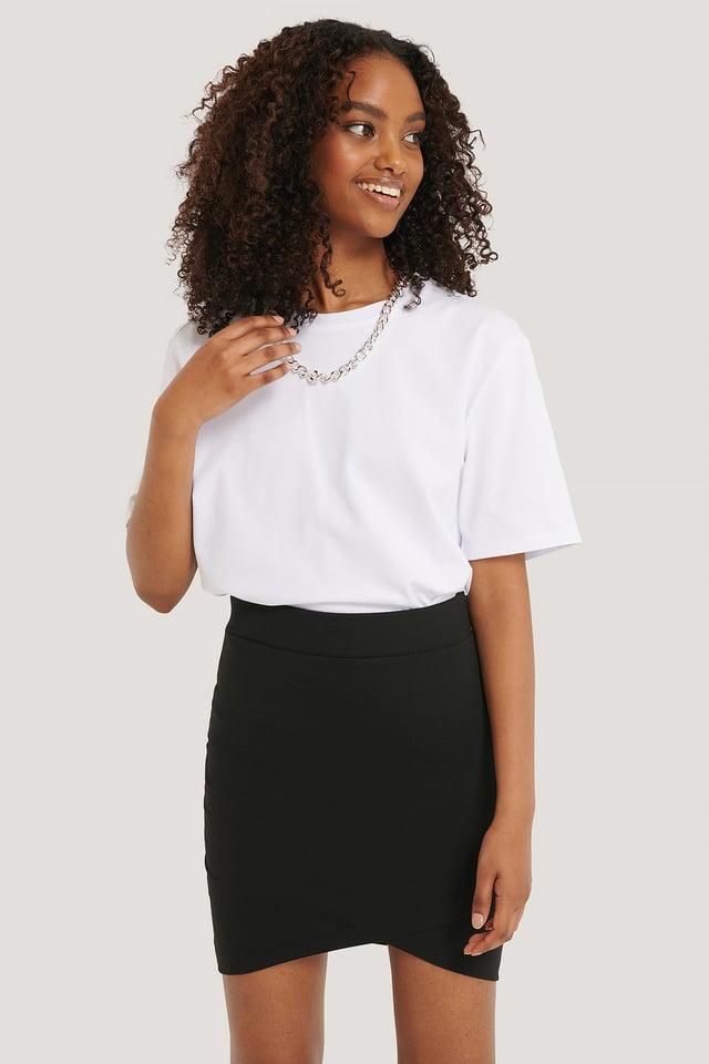 Overlap Mini Skirt Black