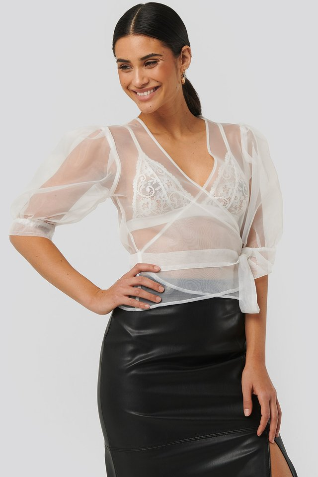 Overlap Organza Top White