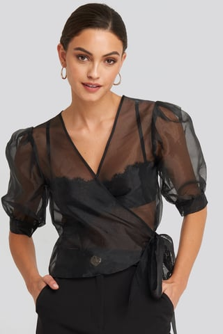 Black Overlap Organza Top