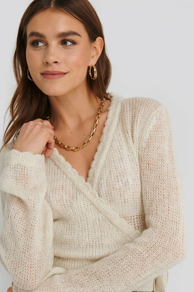 Overlap Rib Detail Knitted Sweater Offwhite