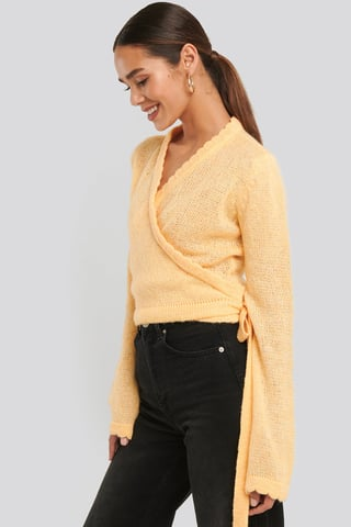 Dusty Yellow Overlap Rib Detail Knitted Sweater