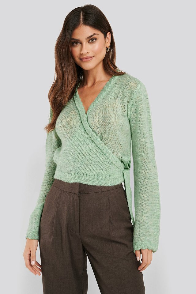 Overlap Rib Detail Knitted Sweater Pastel Green