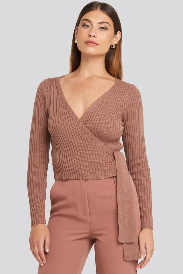 Overlap Ribbed Knitted Sweater Dusty Dark Pink