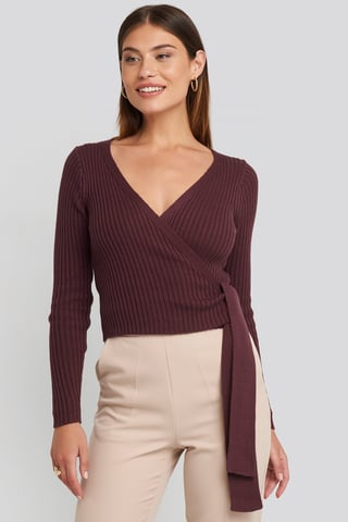 Burgundy Overlap Ribbed Knitted Sweater