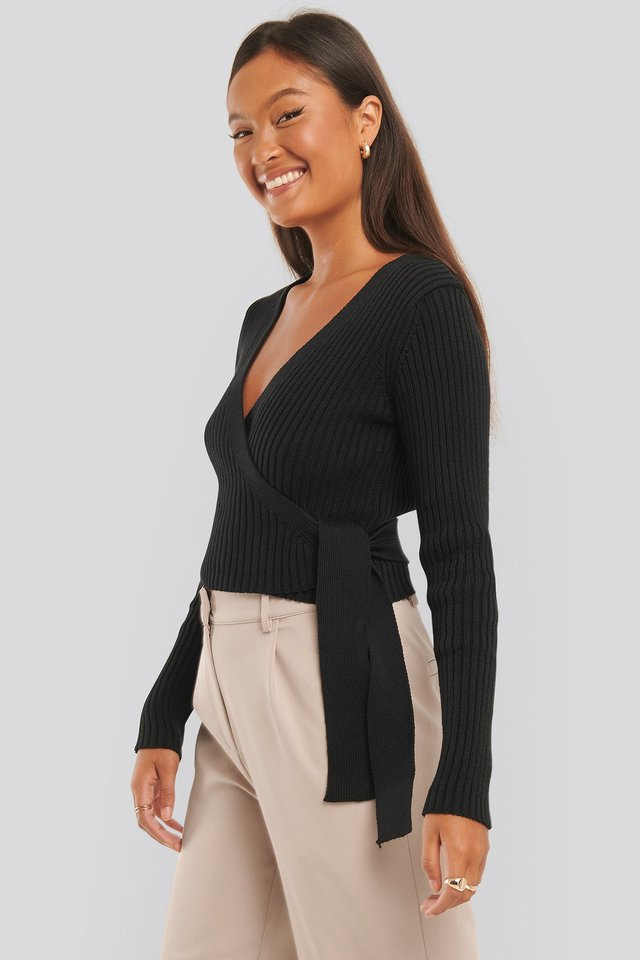 Overlap Ribbed Knitted Sweater Black