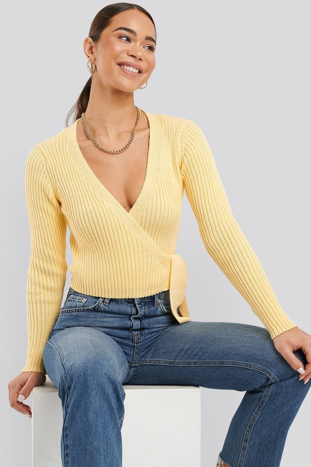 Overlap Ribbed Knitted Sweater Yellow
