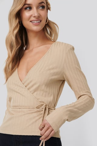 Beige Melange Overlap Ribbed Top