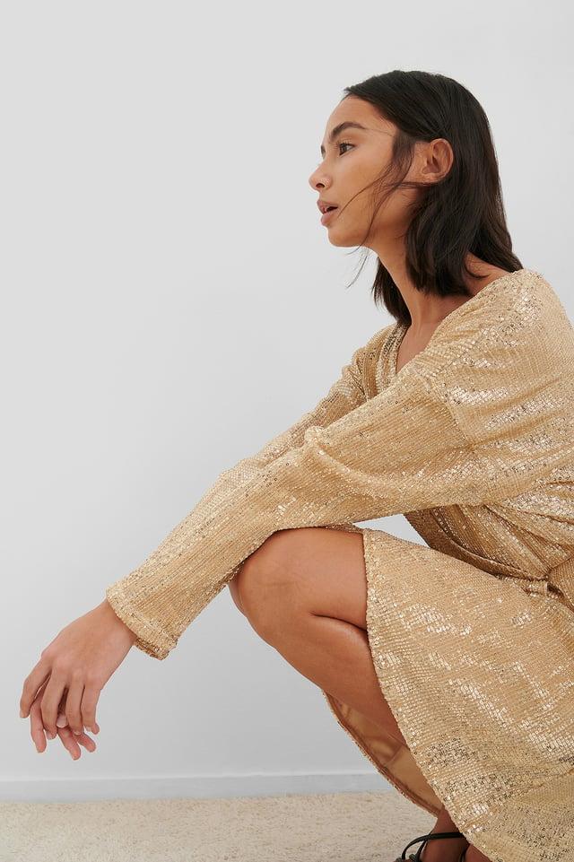 Overlap Sequin Mini Dress Gold