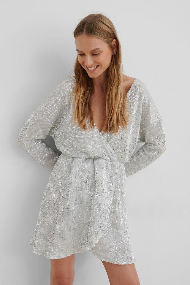Overlap Sequin Mini Dress Silver