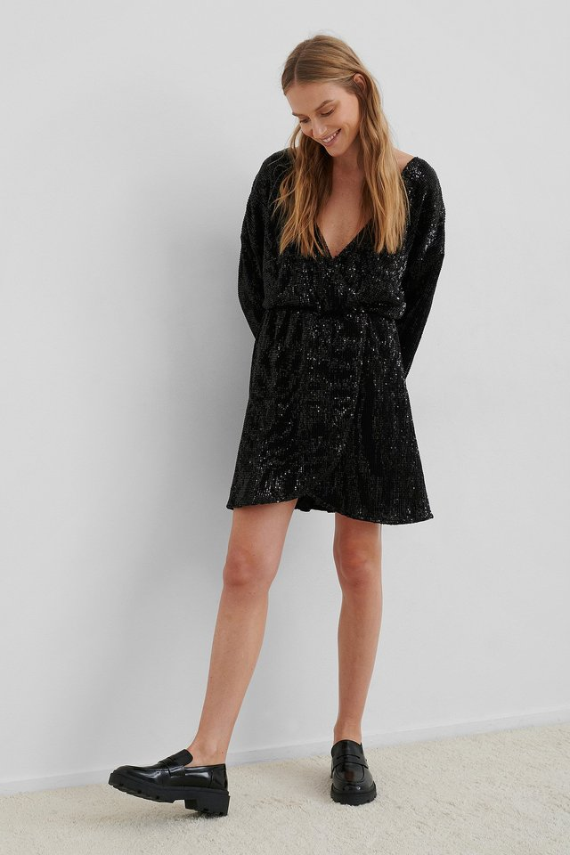 Overlap Sequin Mini Dress Black