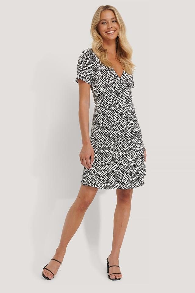 Black Overlap Short Sleeve Printed Dress
