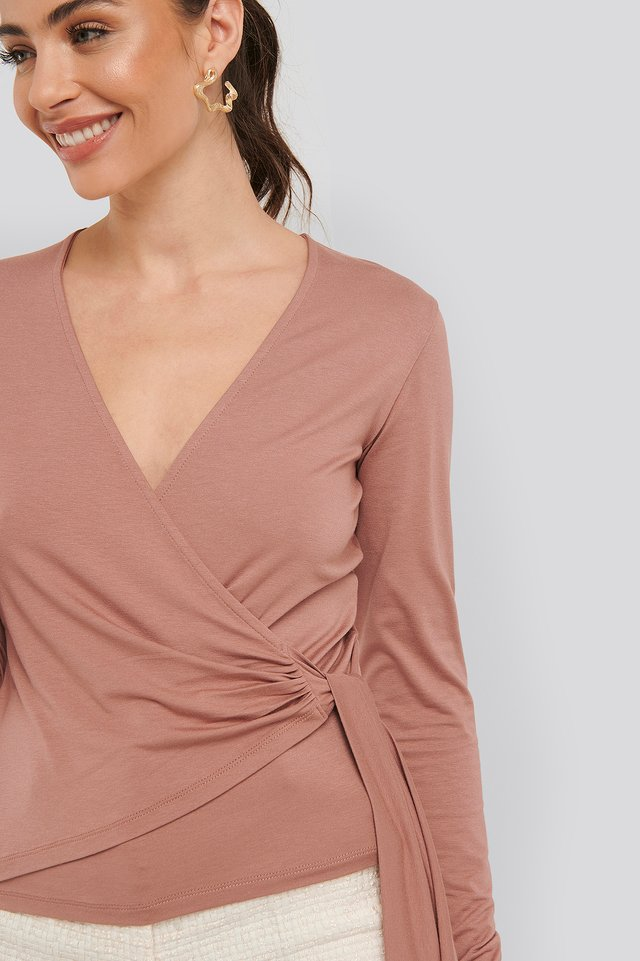 Overlap Tie Detail Top Dusty Dark Pink