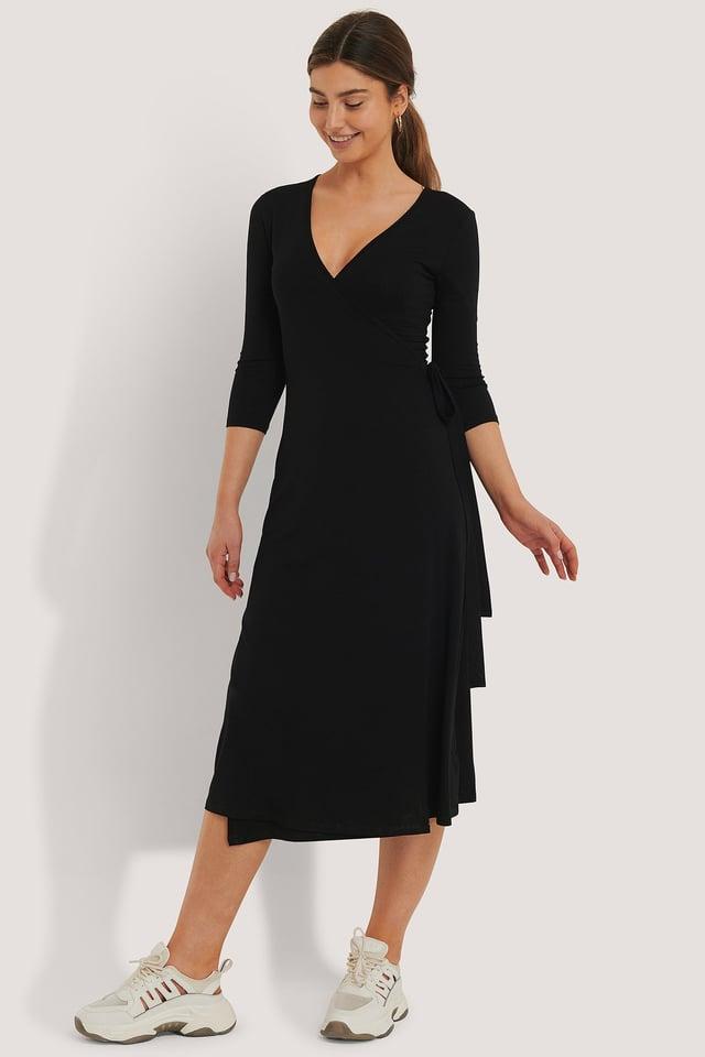 Black Overlap Tie Dress