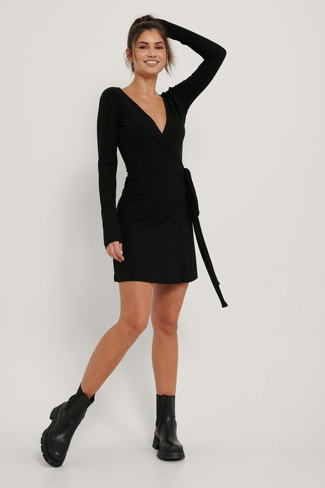 Black Overlap Tie Short Dress