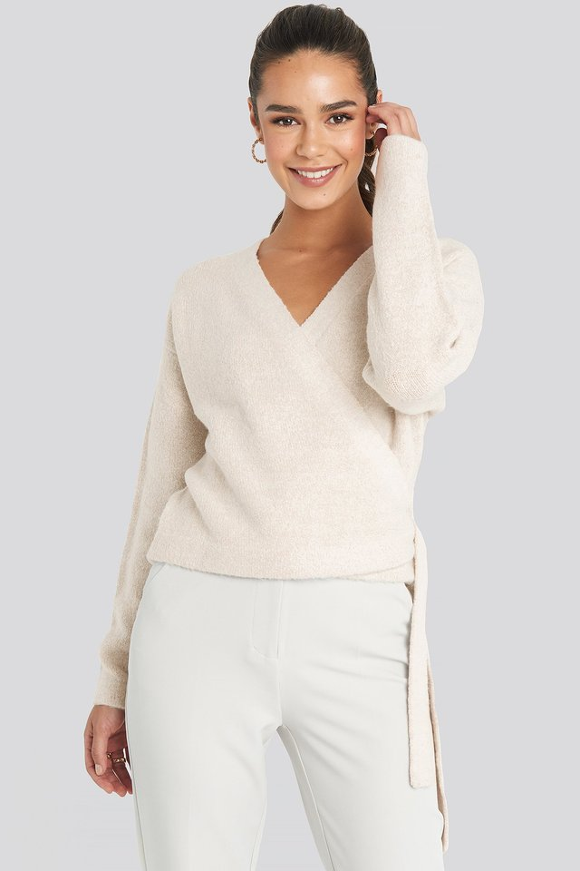 Overlap Tied Knitted Sweater Beige