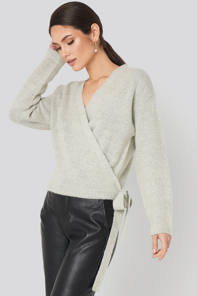 Overlap Tied Knitted Sweater Grey