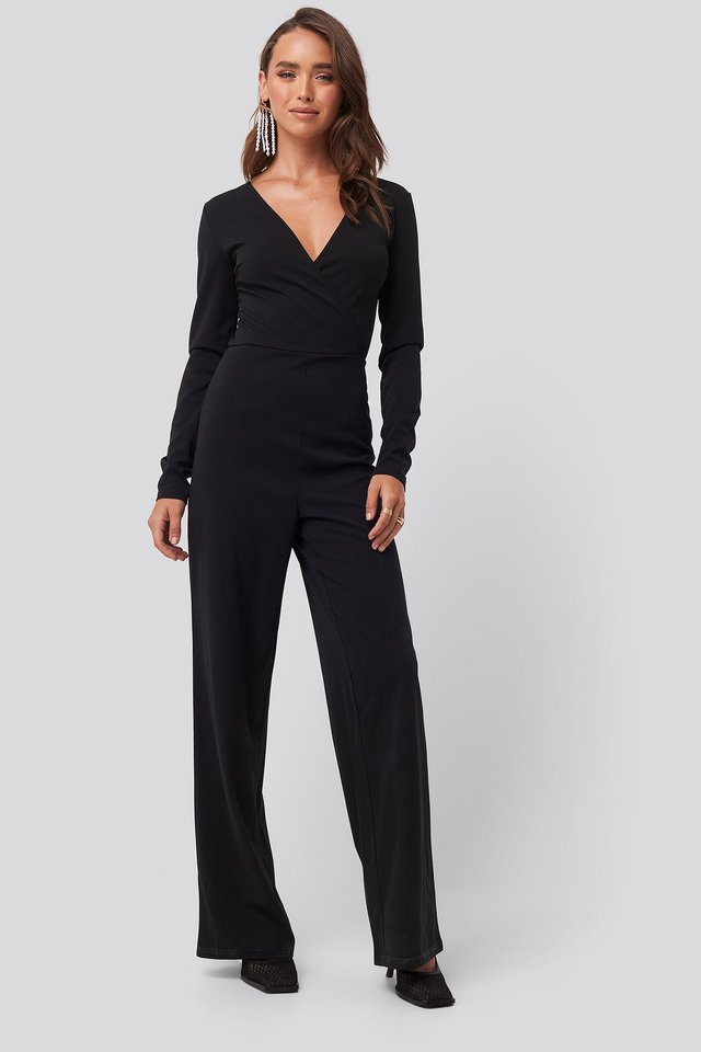 Black Overlap Wide Leg Jumpsuit