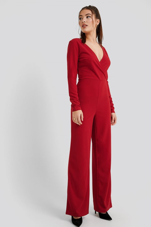 Red Overlap Wide Leg Jumpsuit