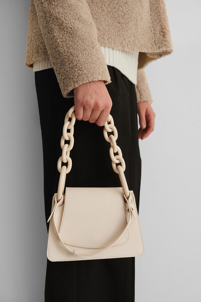 Light Beige Oversize Chain Mini Bag