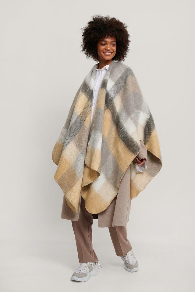 Beige/grey Oversize Checkered Poncho