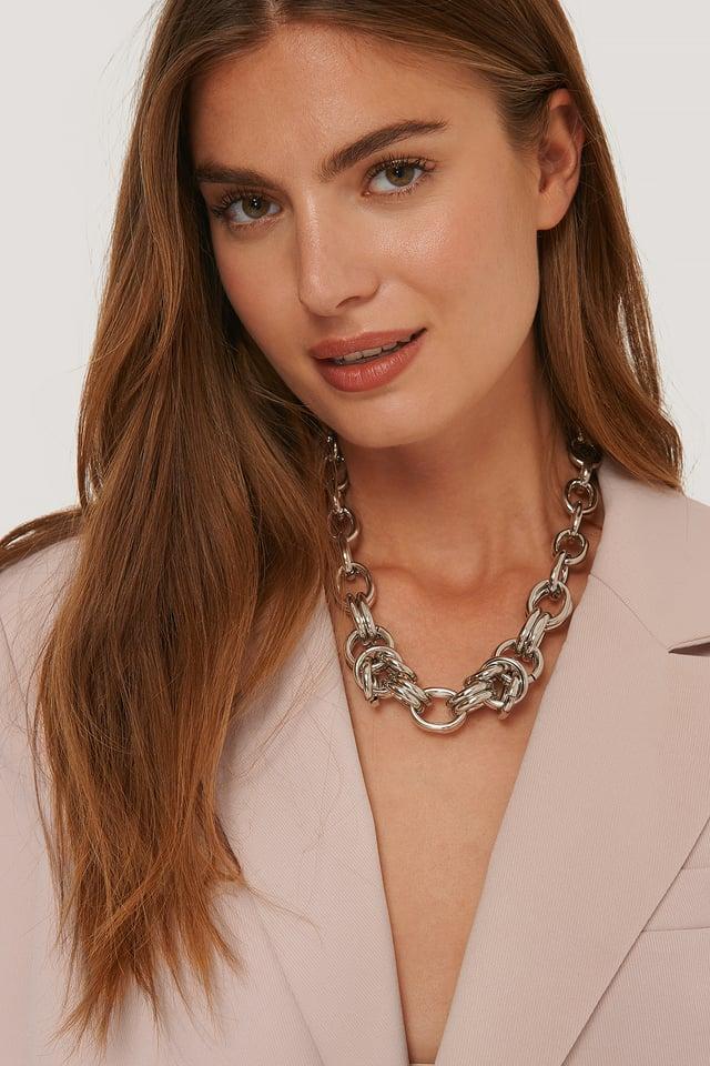 Collar De Cadena Atrevido Oversize Silver