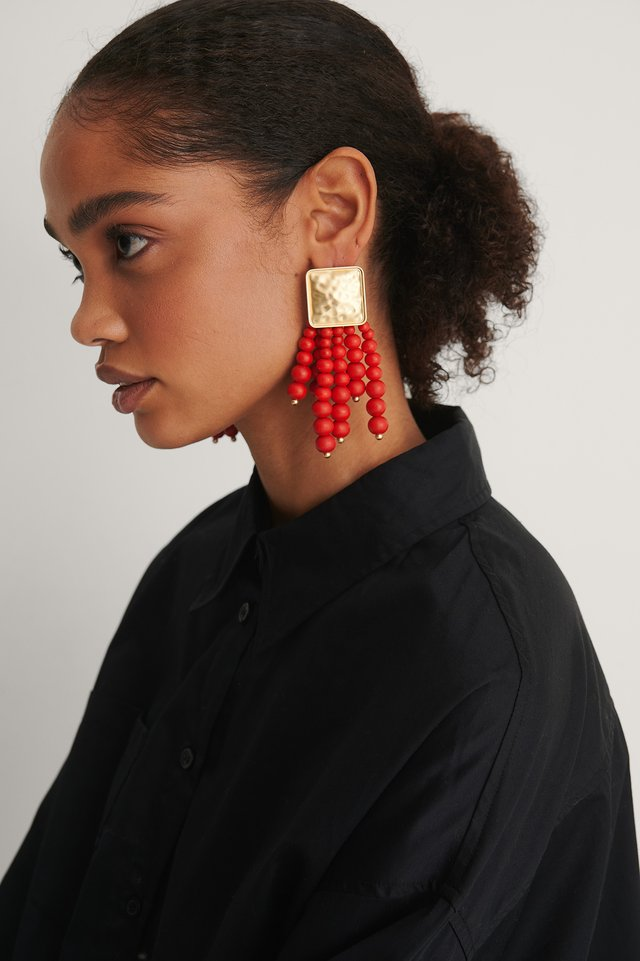 Red/gold Oversize Colored Beads Earrings