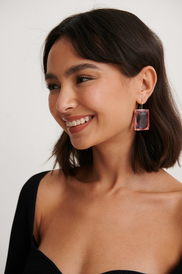 Pink Oversize Colorful Stone Earrings