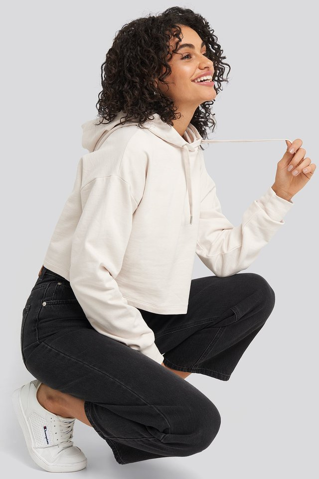 Oversized Cropped Hoodie White Sand