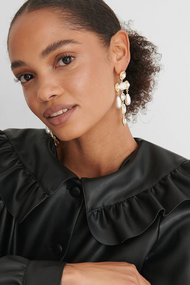 Gold Oversize Pearl Glass Drop Earrings