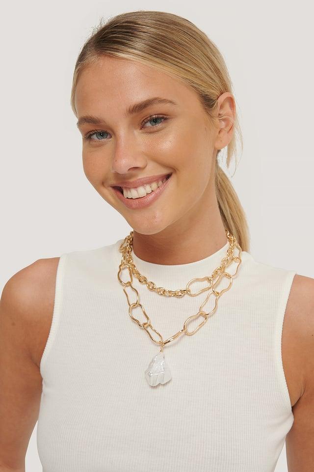 Collar Con Cadena De Perla De Imitación Oversize Gold