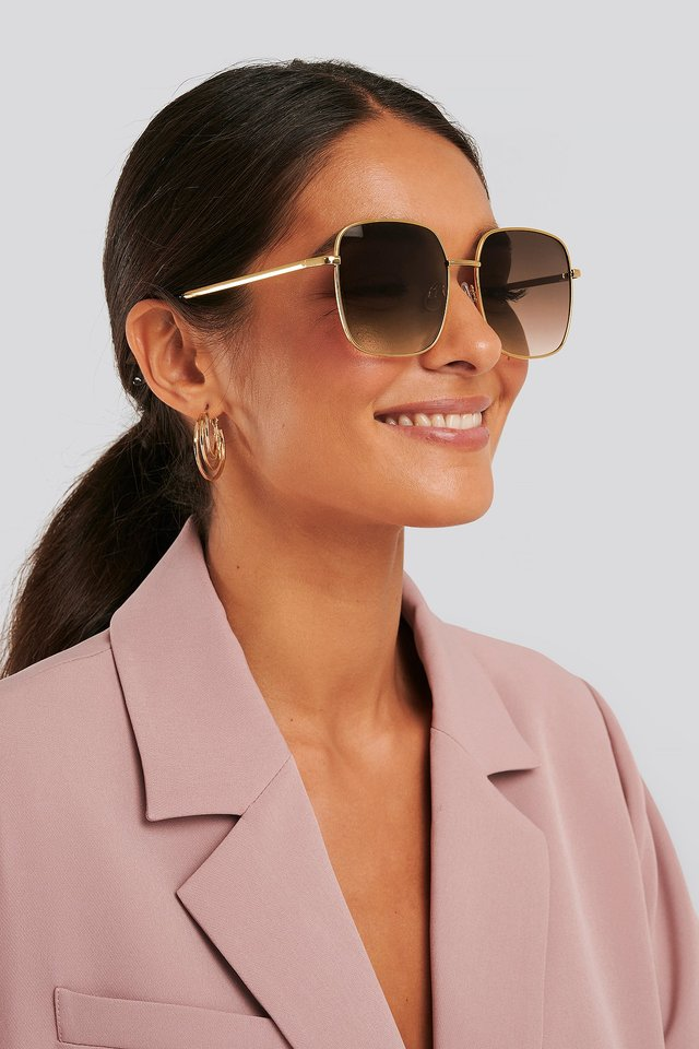 Oversize Retro Sunglasses Gold