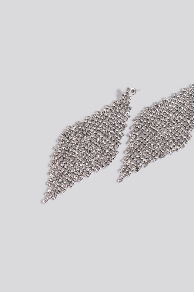 Oversize Rhinestone Rhombus Earrings Silver