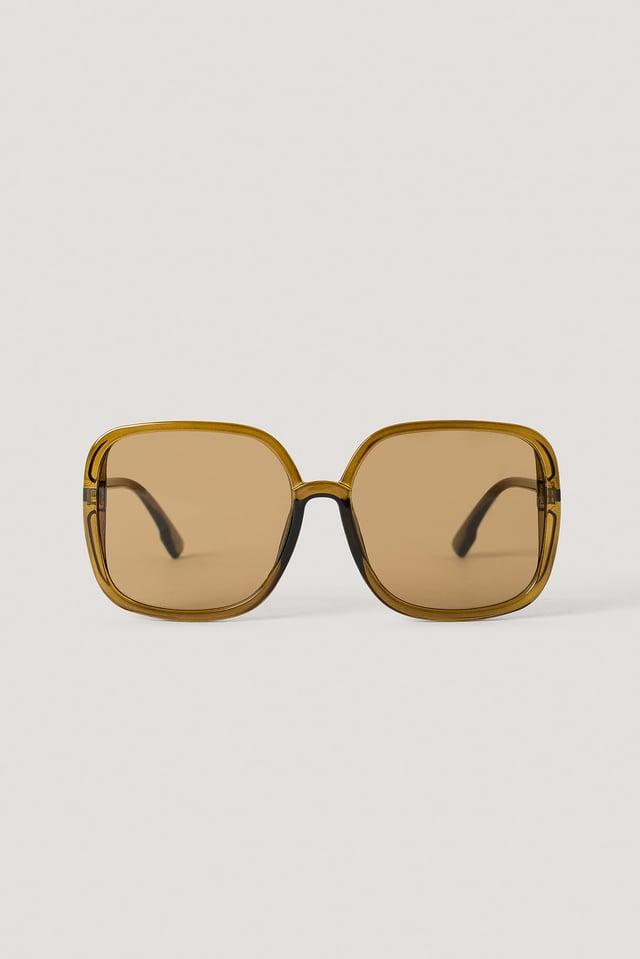 Brown Oversize Square Retro Sunglasses
