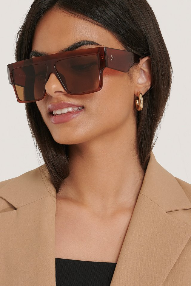 Oversize Wide Screen Sunglasses Brown