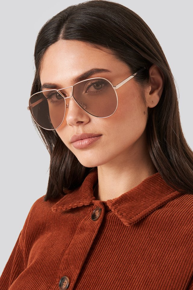 Oversize Wire Frame Sunglasses Brown