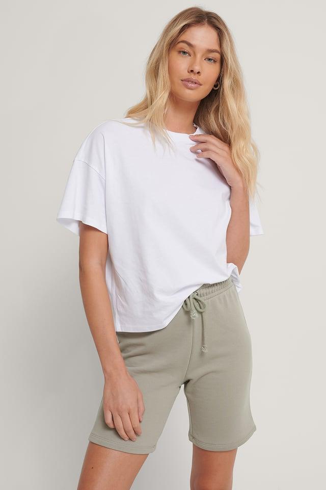 White Økologisk Oversize T-shirt Med 3/4 Ærmer