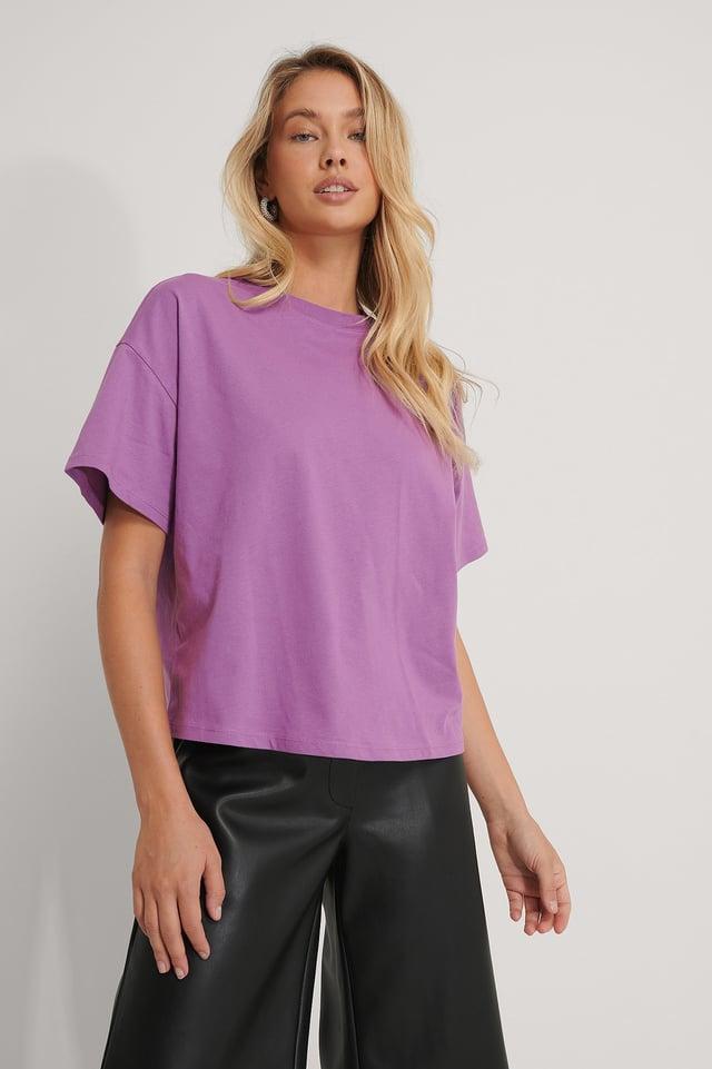 Organisch Oversize-T-Shirt Mit 3/4-Ärmeln Purple