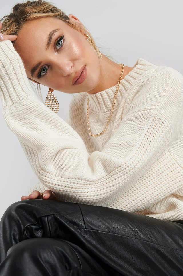 Oversized Balloon Sleeve Ribbed Sweater White
