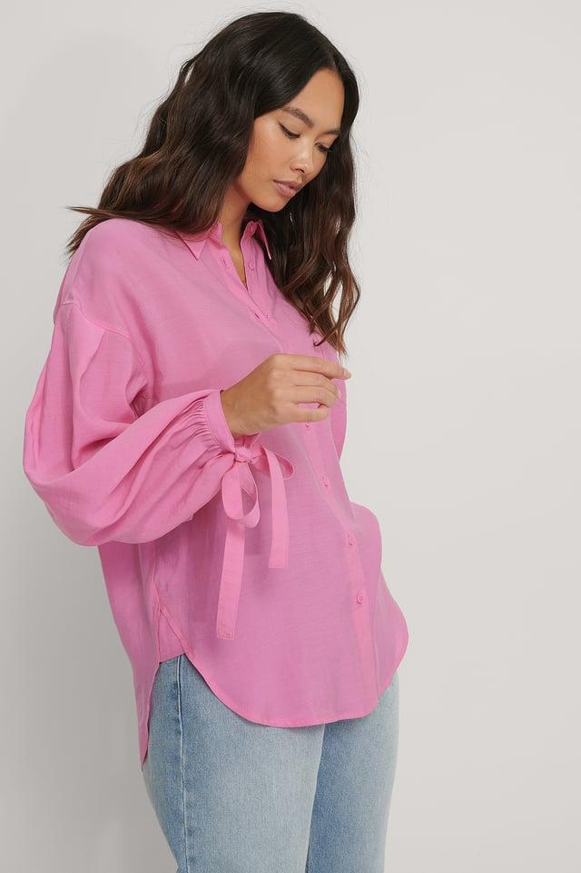 Oversized Balloon Sleeve Shirt Pink