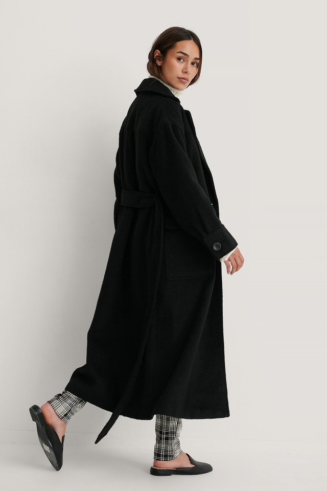 Oversized Belted Coat Black