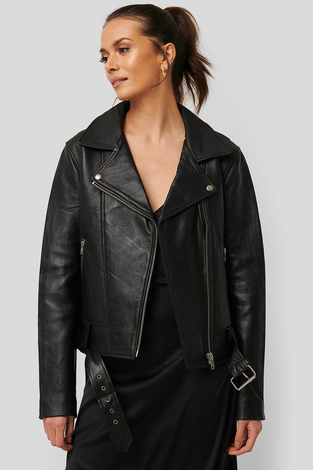 Oversized Belted Leather Jacket Black