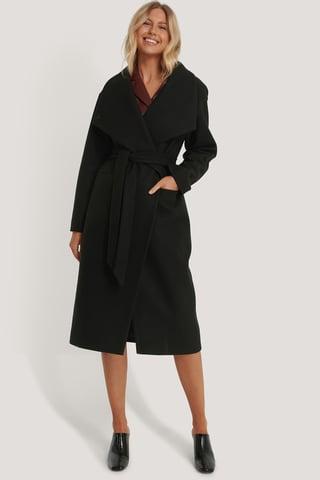 Black Oversize Frakke Med Stor Krave