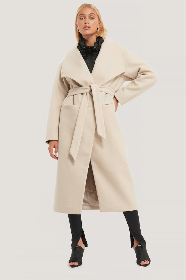 Oversized Big Collar Coat Light Beige