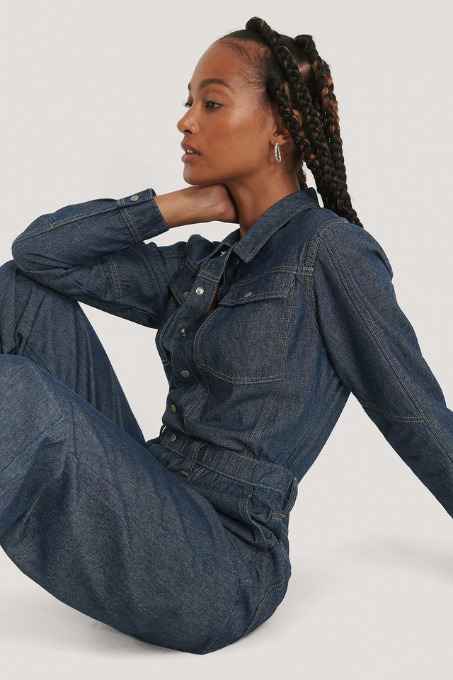 Dark Denim Oversized Boiler Denim Suit