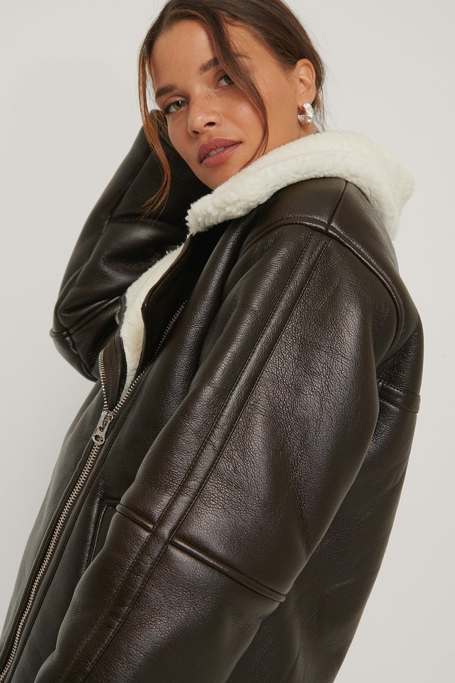Oversized Bonded Jacket Brown