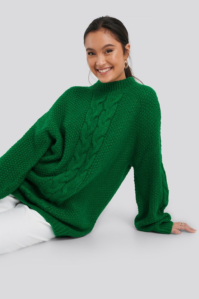 Oversized Cable Knitted Sweater Green